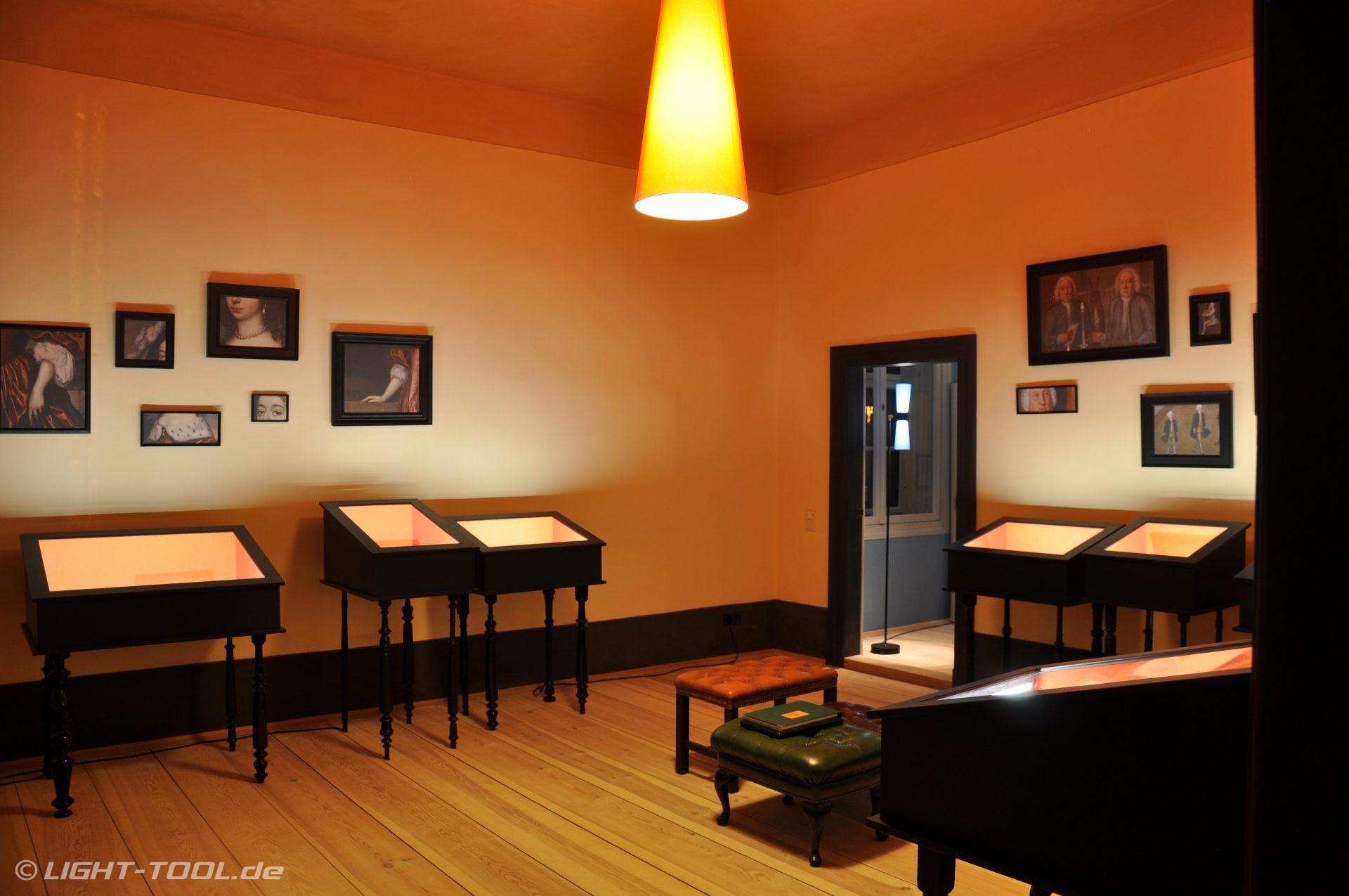 led ausstellungs vitrinenbeleuchtung im schloss oranienbaum in w rlitz light tool. Black Bedroom Furniture Sets. Home Design Ideas